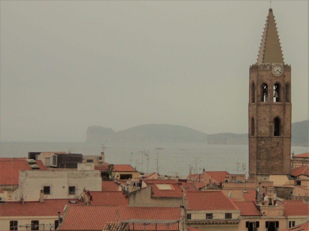 Bell Tower of Santa Maria and Capo Caccia view